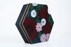 Szkatułka bordowe kwiaty PREZENT walentynki