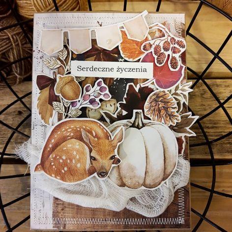 Jesienna nastrojowa kartka z sarenką
