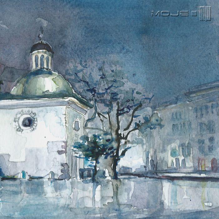 Wieczorny kościół św. Wojciecha - obrazek na ścianę