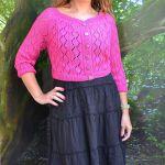 Krótki różowy rozpinany sweterek...