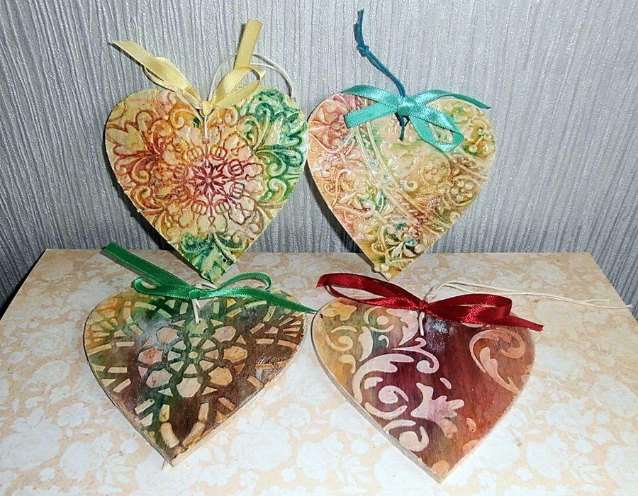 Serce brązowo - zielone - Jedno z 4