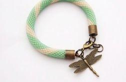 Bransoletka wąż zielono-beżowa3