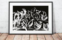 21x30cm - Czarno biały plakat ptaki