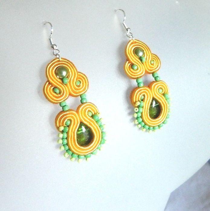 Zielono-żółte kolczyki wiszące, sutasz,piękne