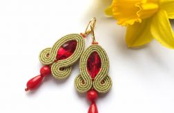 Kolczyki soutache - Gold&Red