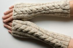 Długie mitenki Ecru Tweed