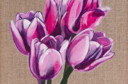 Tulipany - obraz malowany na płótnie lnianym