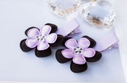 spinki  kwiatki 2 szt. fiolet - czarne