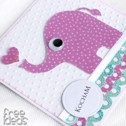 Słoń z serduchem - Kartka Walentynki KW029