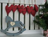 Zestaw świąteczny 7 serduszek z haftem