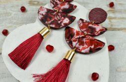 Eleganckie kolczyki z chwostem - bordowe
