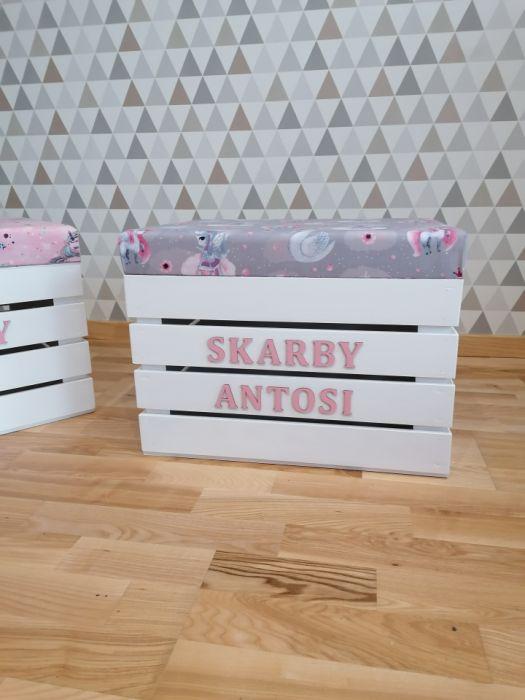 Skrzynia na zabawki z siedziskiem JEDNOROŻCE - skrzynia pudełko na zabawki jednorożce loo loo dream