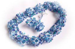 Zestaw Biżuterii Koralikowej - Błękitny Melanż -(26395)