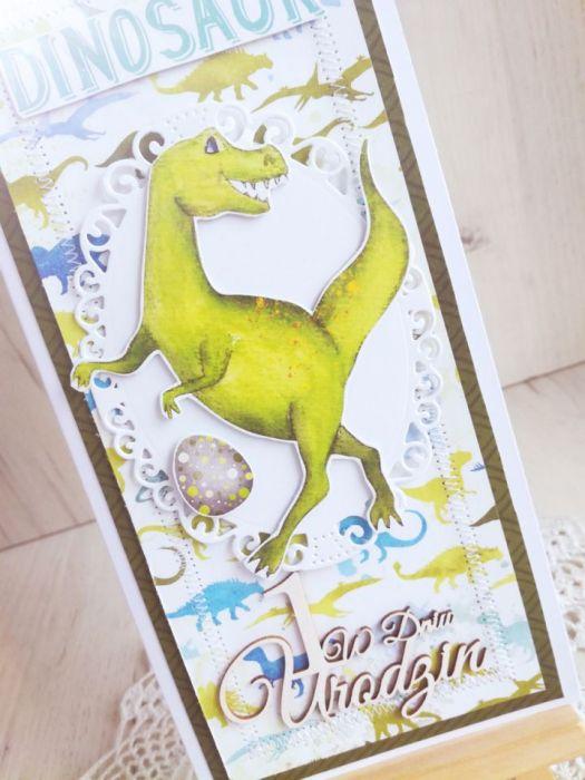Kartka urodzinowa DL z Dinozaurem 2 GOTOWA -