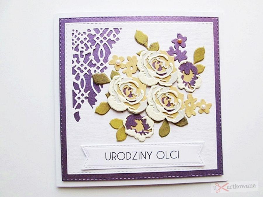 Kartka NA URODZINY kremowo-fioletowe róże - Kartka na urodziny - kremowo-fioletowe róże