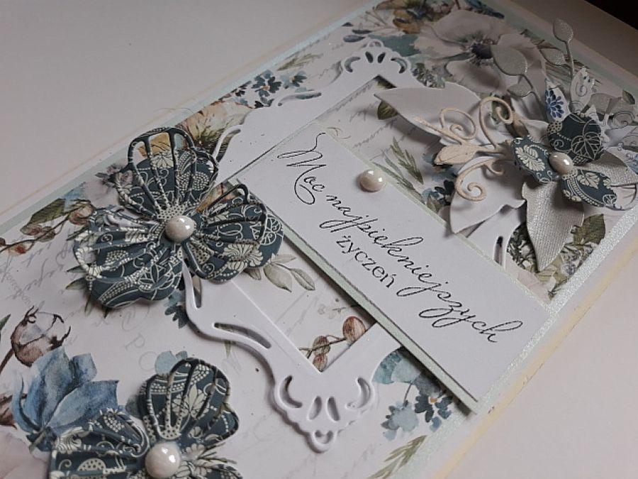 Kartka urodziny, imieniny, biało niebieska