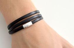 Unisex bransoletka czarna skórzana 5mm