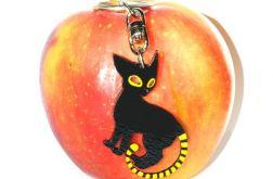 Brelok drewniany ręcznie malowany - Kot Czarno-żółty - Dla kociary