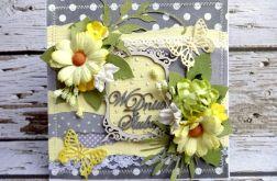 Kartka ślubna szaro-żółta