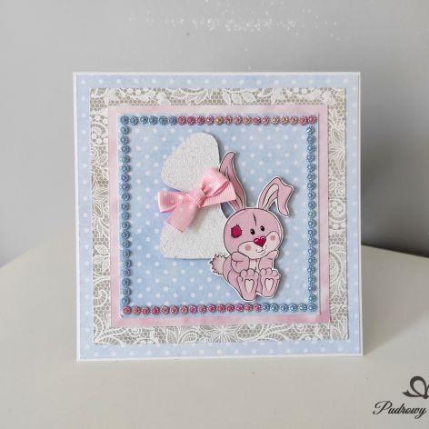 Kartka na roczek króliczek krysztalki pastelowe