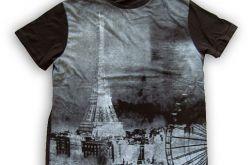 XL -Czarna koszulka z nadrukiem Paryż