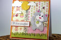 Kartka urodzinowa dla dziecka kot