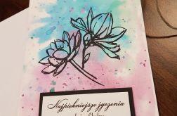Kartka ślubna z kwiatami 2