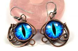 Miedziane kolczyki z niebieskim smoczym okiem