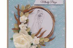 Kartka ślubna z wiankiem i różami - niebieska