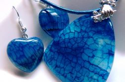 Niebieski agat pajęczy, serduszka, zestaw