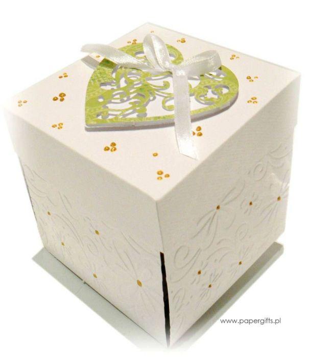 Exploding box ślubny biało-zielony - Exploding box na ślub