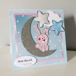 Kartka na Roczek niebieska królik księzyc róż