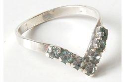 60 pierścionek vintage, srebro cyrkonie