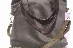 Duża shopperka czarna z weluru