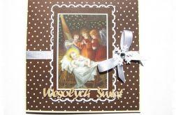 Kartka świąteczna z dzieciątkiem i aniołkami
