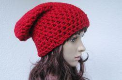 szydełkowa gruba czapka intensywna czerwień