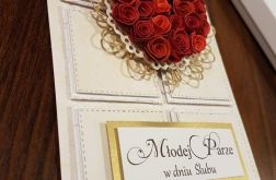 Kartka ślubna z różyczkami w komp.z pudełkiem