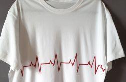Koszulka ręcznie malowana bicie serca unisex