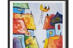 Bajkowe miasteczko kotów -akwarela