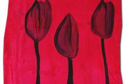 Ręcznie malowana chusta Jedwabna -Tulipany
