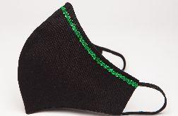 Maseczka profilowana czarna z zdobieniem zielonym