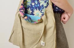 Lniana torba z podszewką w kwiaty