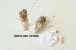Kolczyki z modeliny słodkie pianki różowe