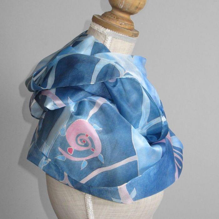 Komin jedwabny Roślinny Niebiesko-Różowy - Niebiesko-różowy jedwabny komin