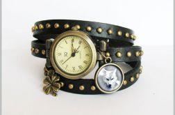 Zegarek - Biały wilk - czarny, skórzany