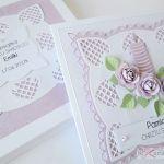 Kartka PAMIĄTKA CHRZTU ze świecą #8 - Biało-różowa kartka na Chrzest w pudełku