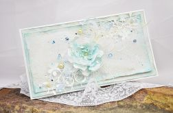 Klimatyczna kartka ślubna w bieli z błękitem