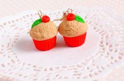 Wiśniowe muffinki kolczyki z modeliny