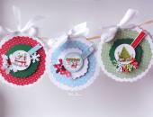 Kartko-bombki Bożonarodzeniowe zestaw 3szt