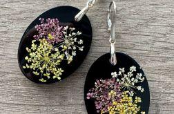 12. Kolczyki z żywicy i kwiatów srebro 925